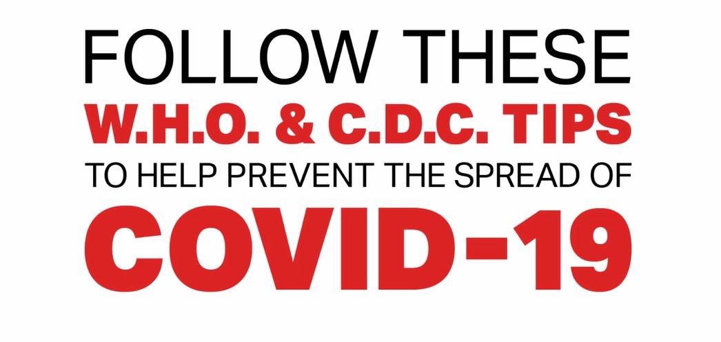 Coronavirus prevention tips from CDC and WHO