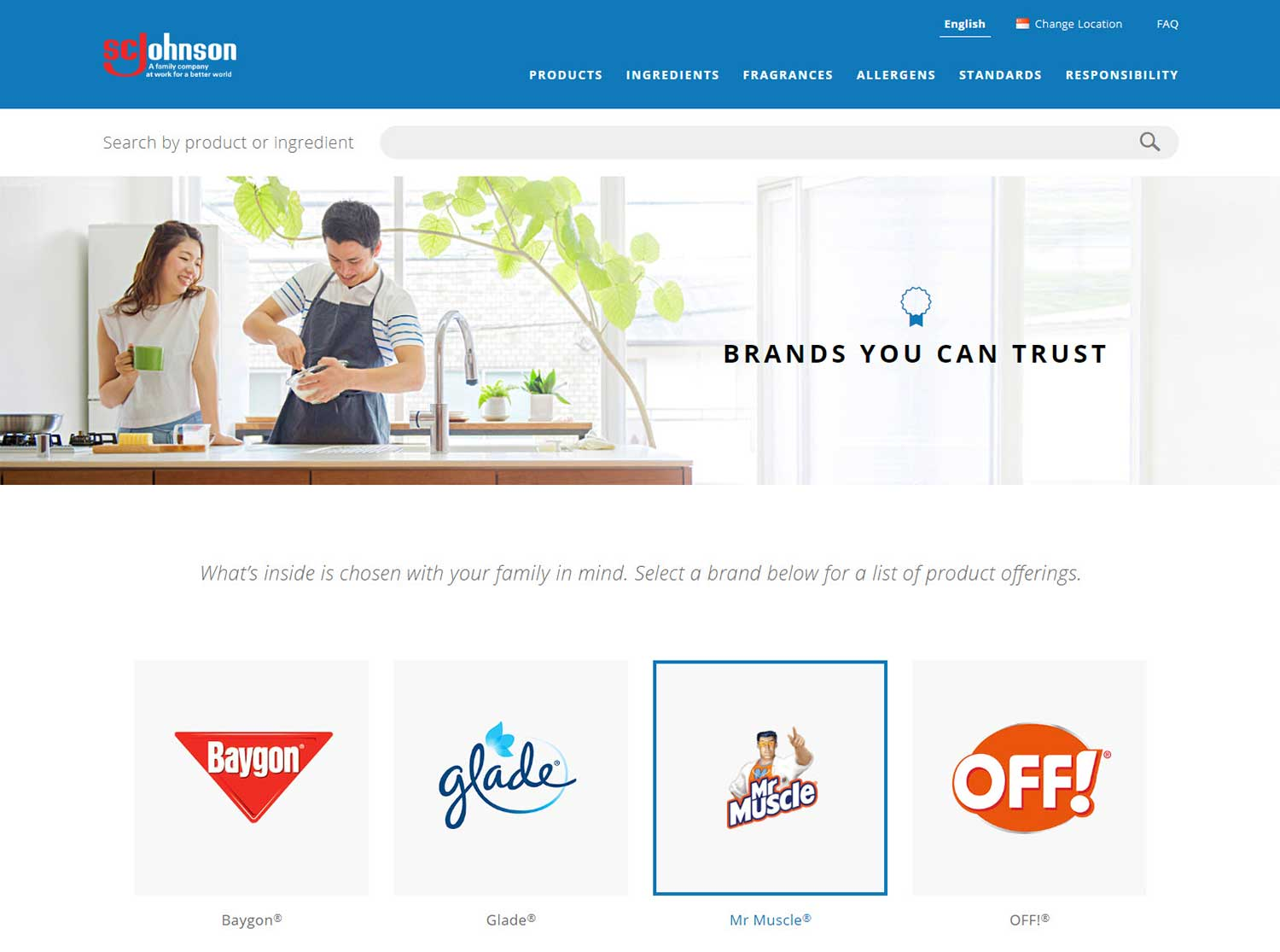 SC Johnson product ingredient site brand page