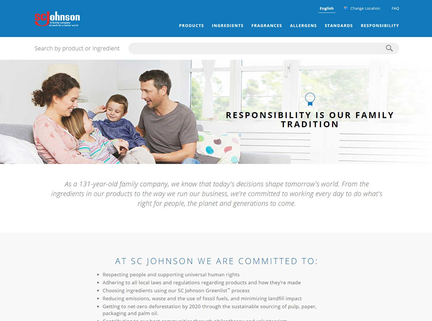 SC Johnson product ingredient site responsibility page
