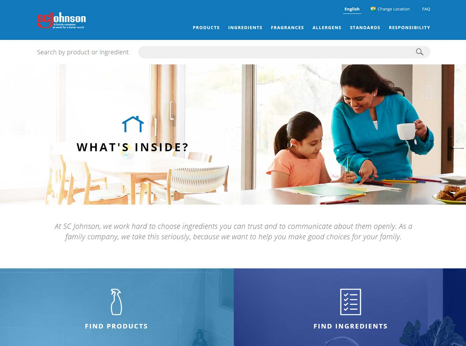 SC Johnson product ingredient site home page