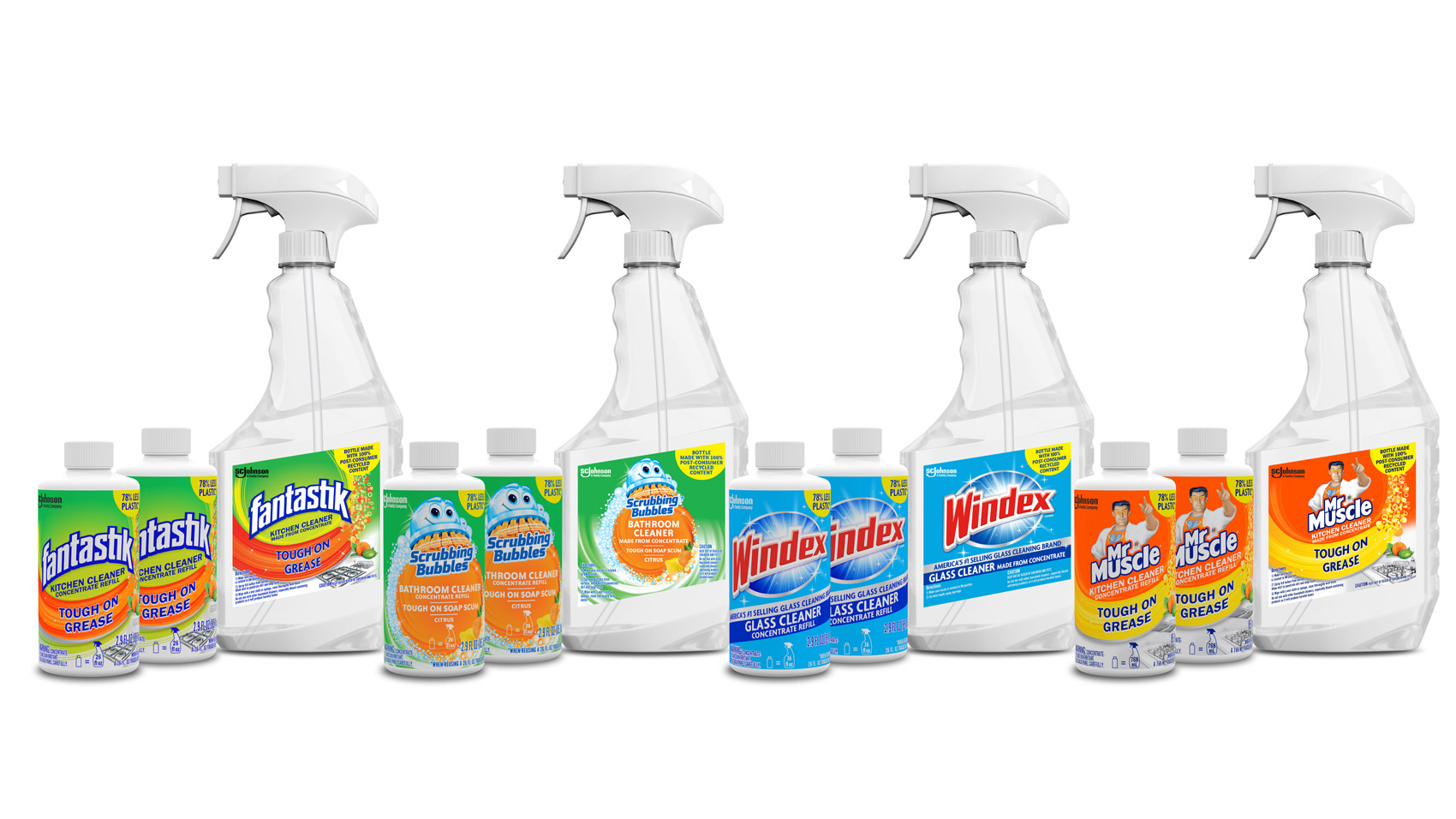limpiadores concentrados sc johnson para windex, scrubbing bubbles, fantastik y mr muscle