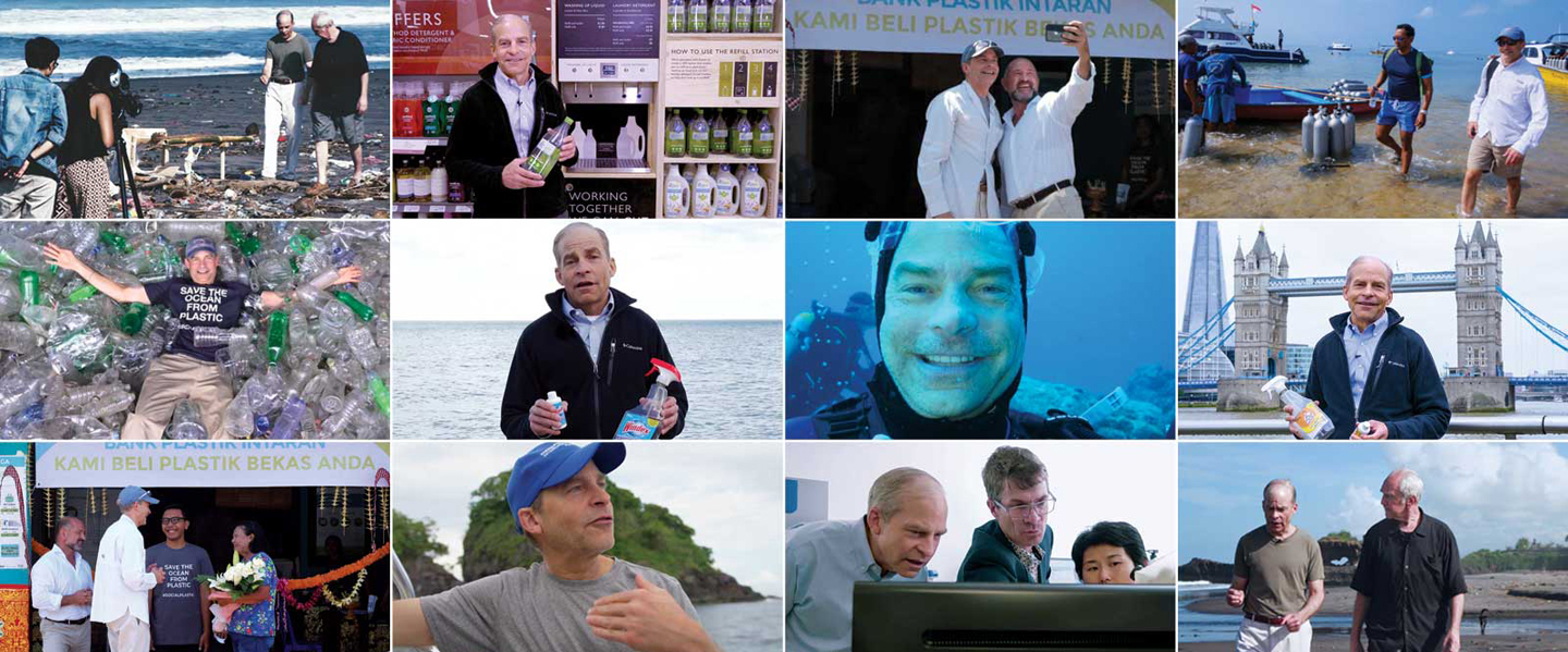 collage of images of fisk johnson, CEO and chairman of SC Johnson advocating plastic pollution and recycling