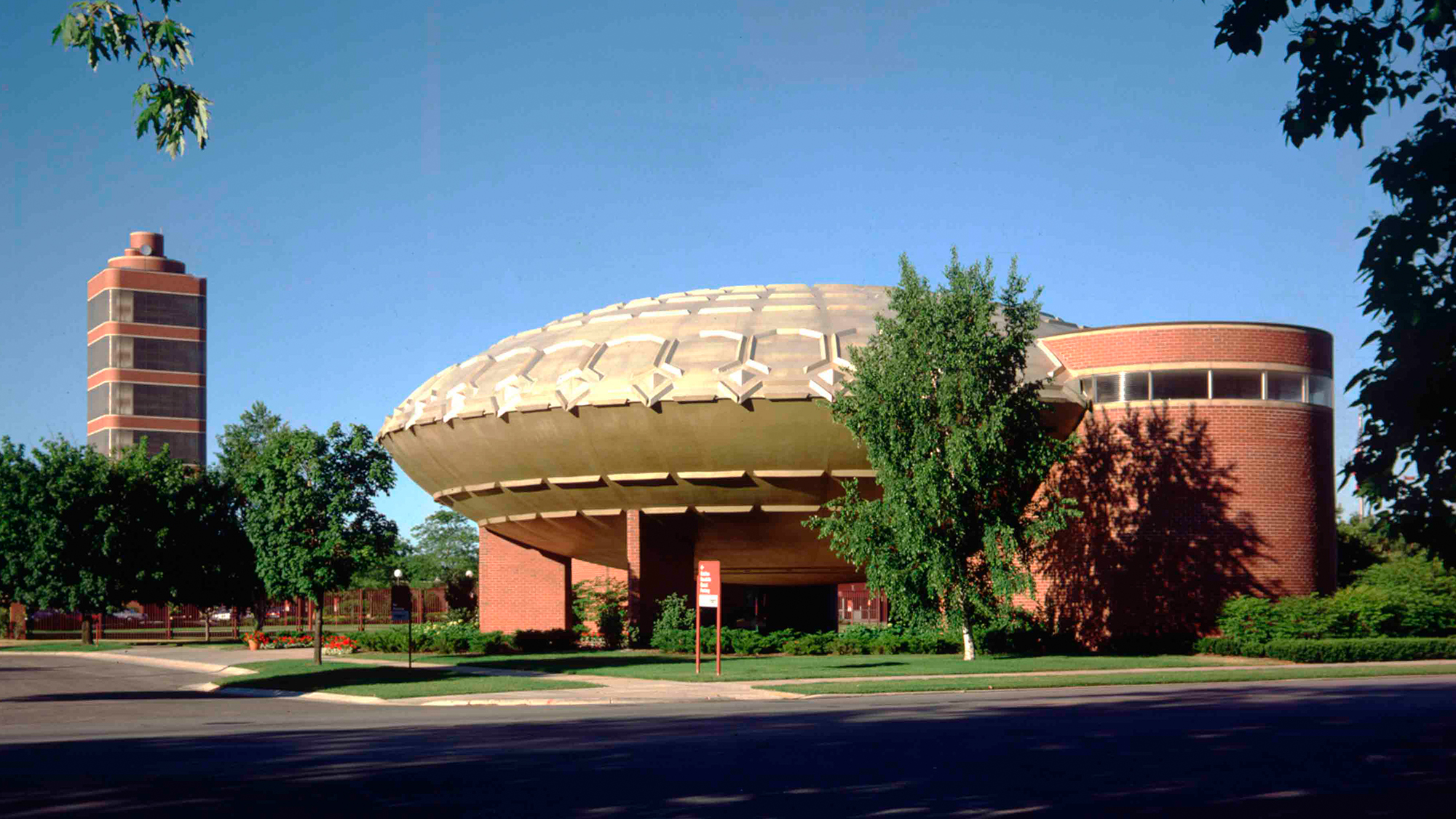 The Golden Rondelle Theater sits at the entrance to our global headquarters campus.