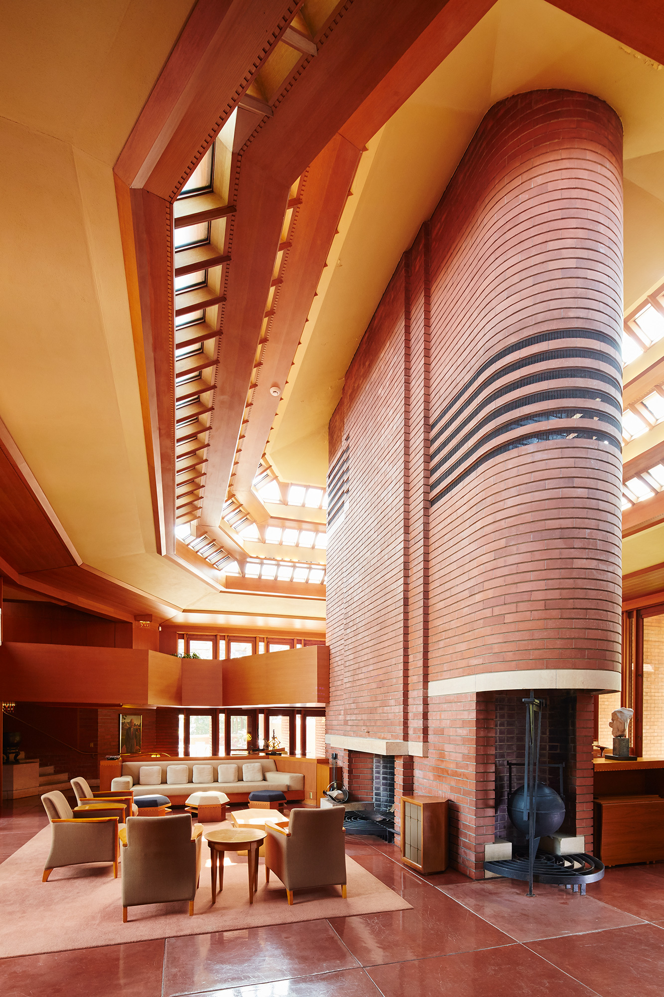 "Inside H.F. Johnson, Jr.'s ""Wingspread"" home designed by Frank Lloyd Wright"