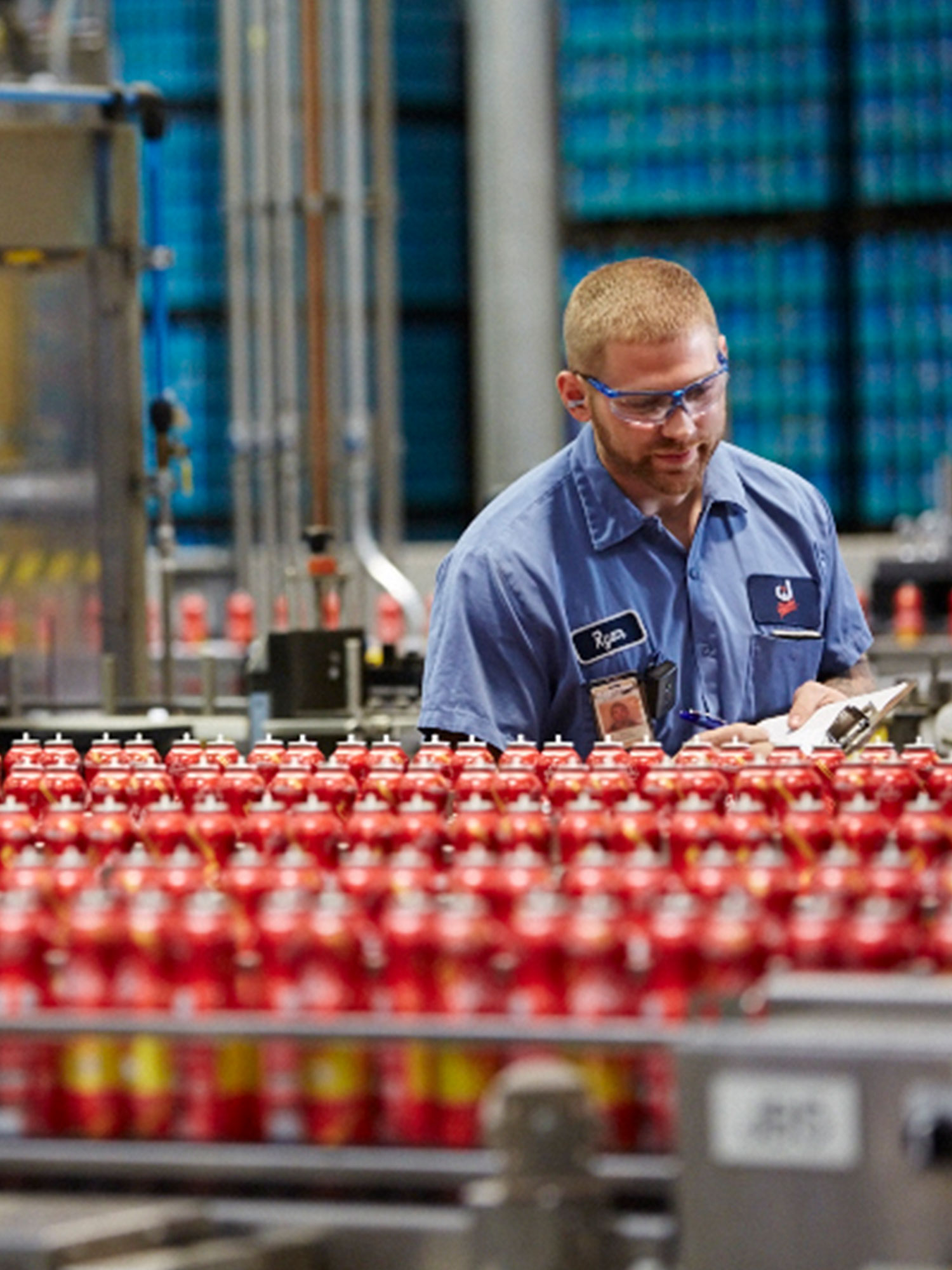 SC Johnson Factory Employee Preforming Quality Control Tests