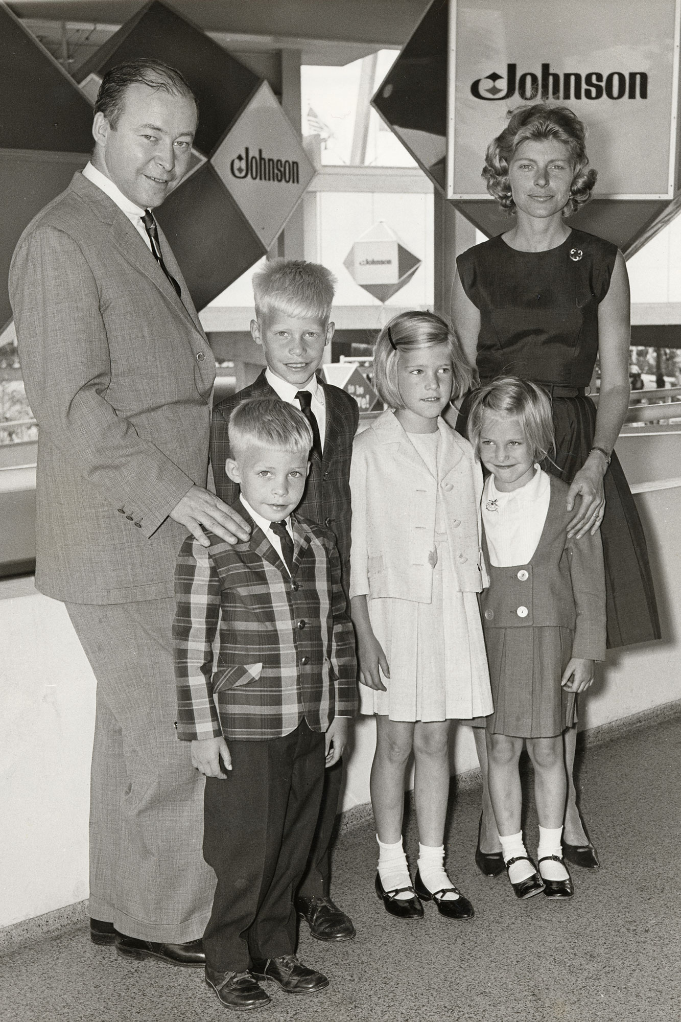 Imogene Johnson with Samuel C Johnson and children at the 1964 World's Fair