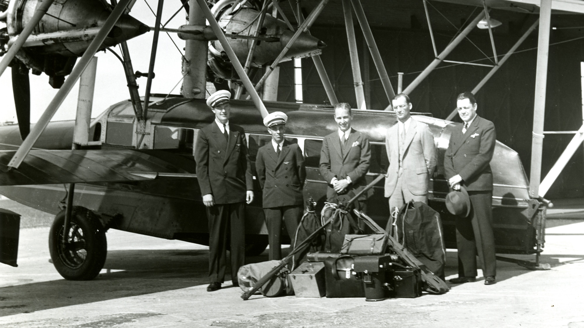HF Johnson Jr and flight crew of the Carnaúba Sikorsky S-38 amphibian airplane.