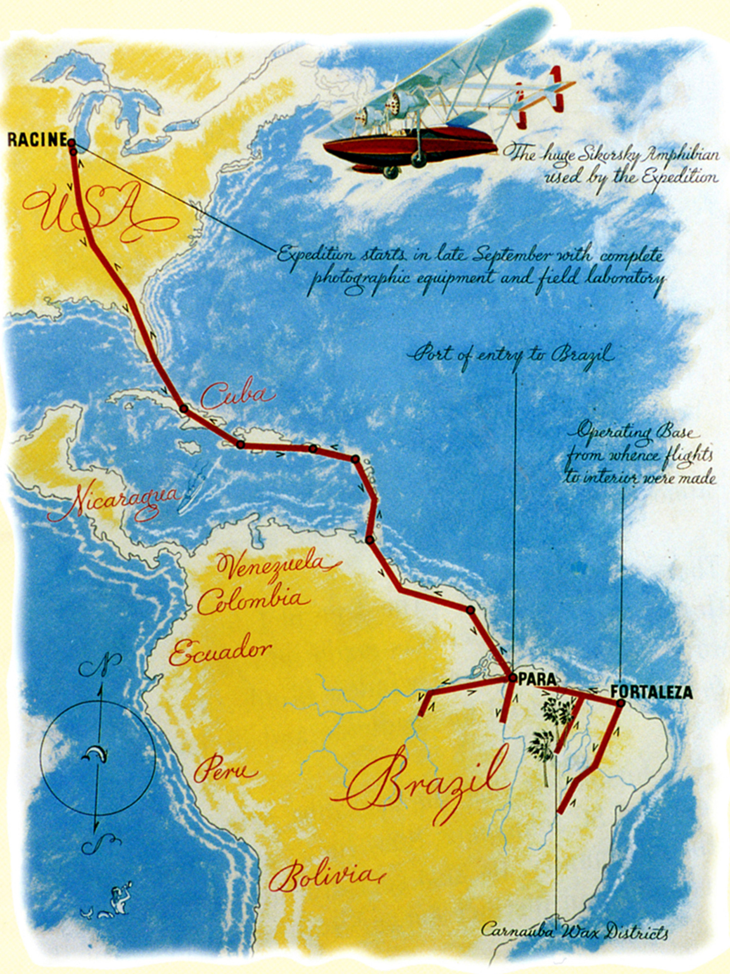 H.F. Johnson Jr.'s 1935 flight path to source carnaúba palm wax in Brazil.