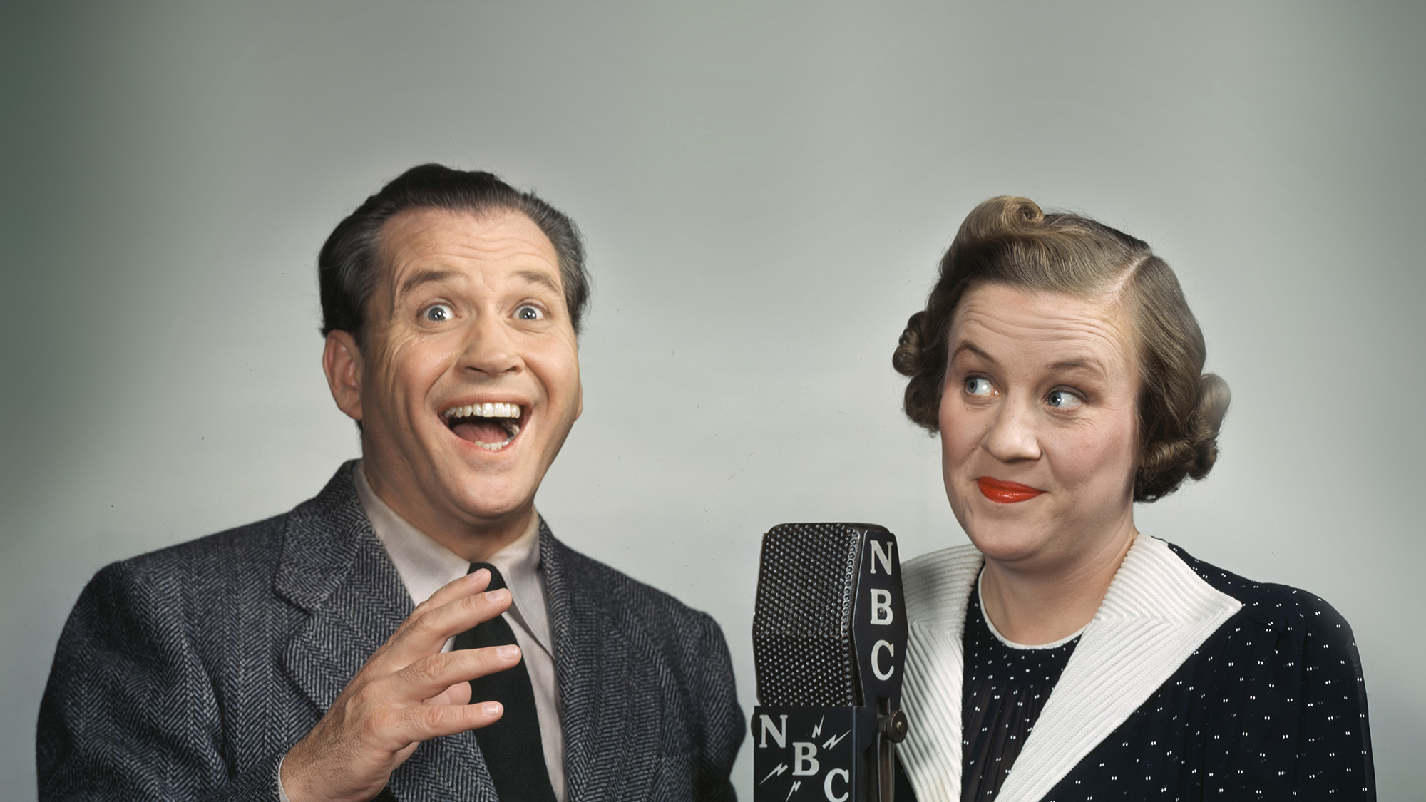 "Fibber McGee și Molly McGee, duoul comic din emisiunea radio ""Fibber McGee and Molly""."