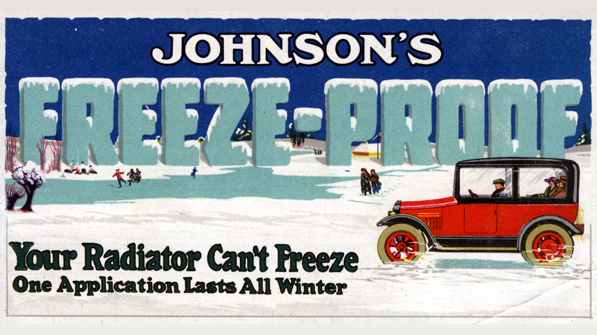 Publicité rétro de 1918 pour le Freeze Proof de Johnson