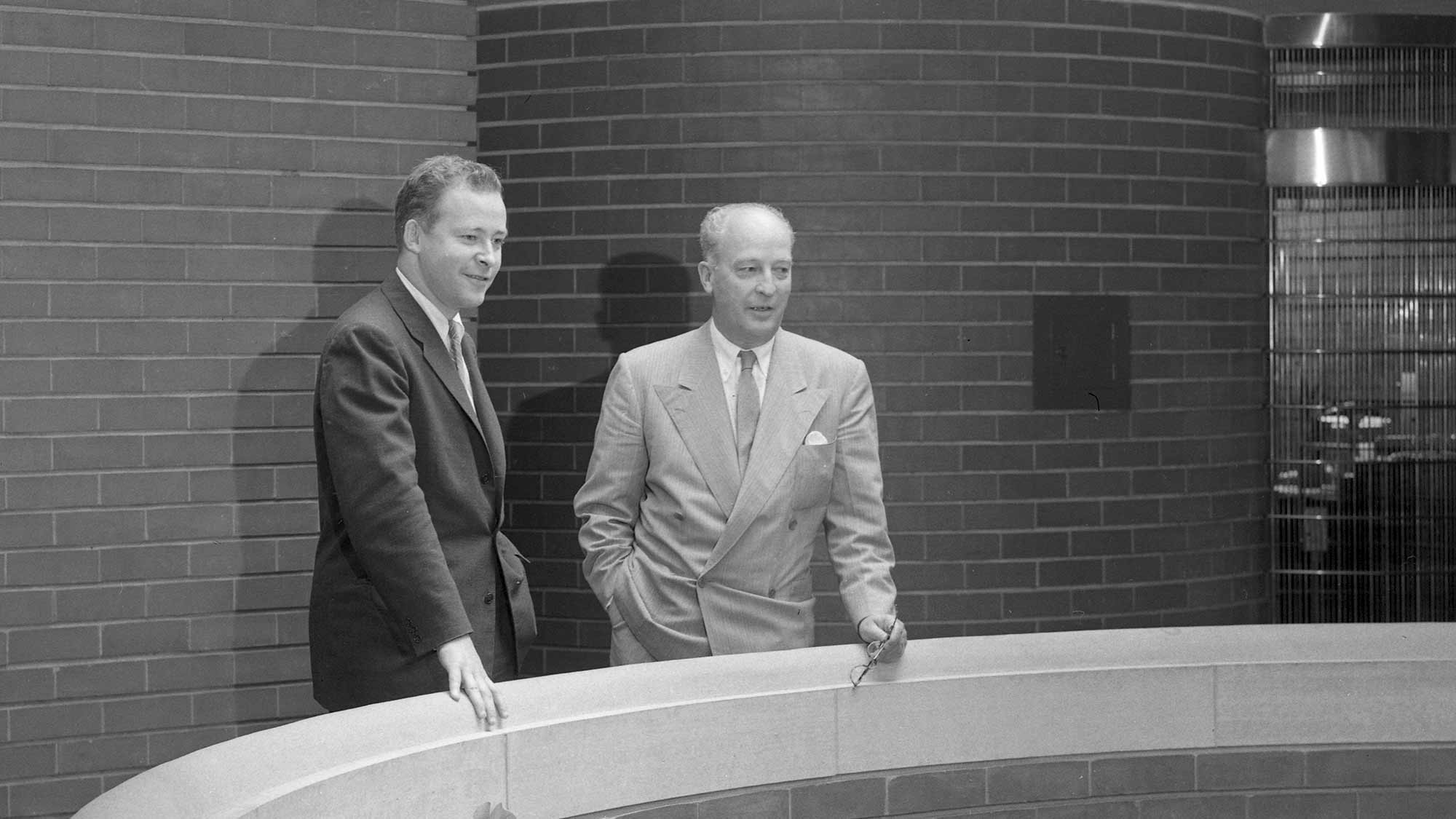 Herbert F Johnson and Sam Johnson in the Frank Lloyd Wright-designed Administration Building