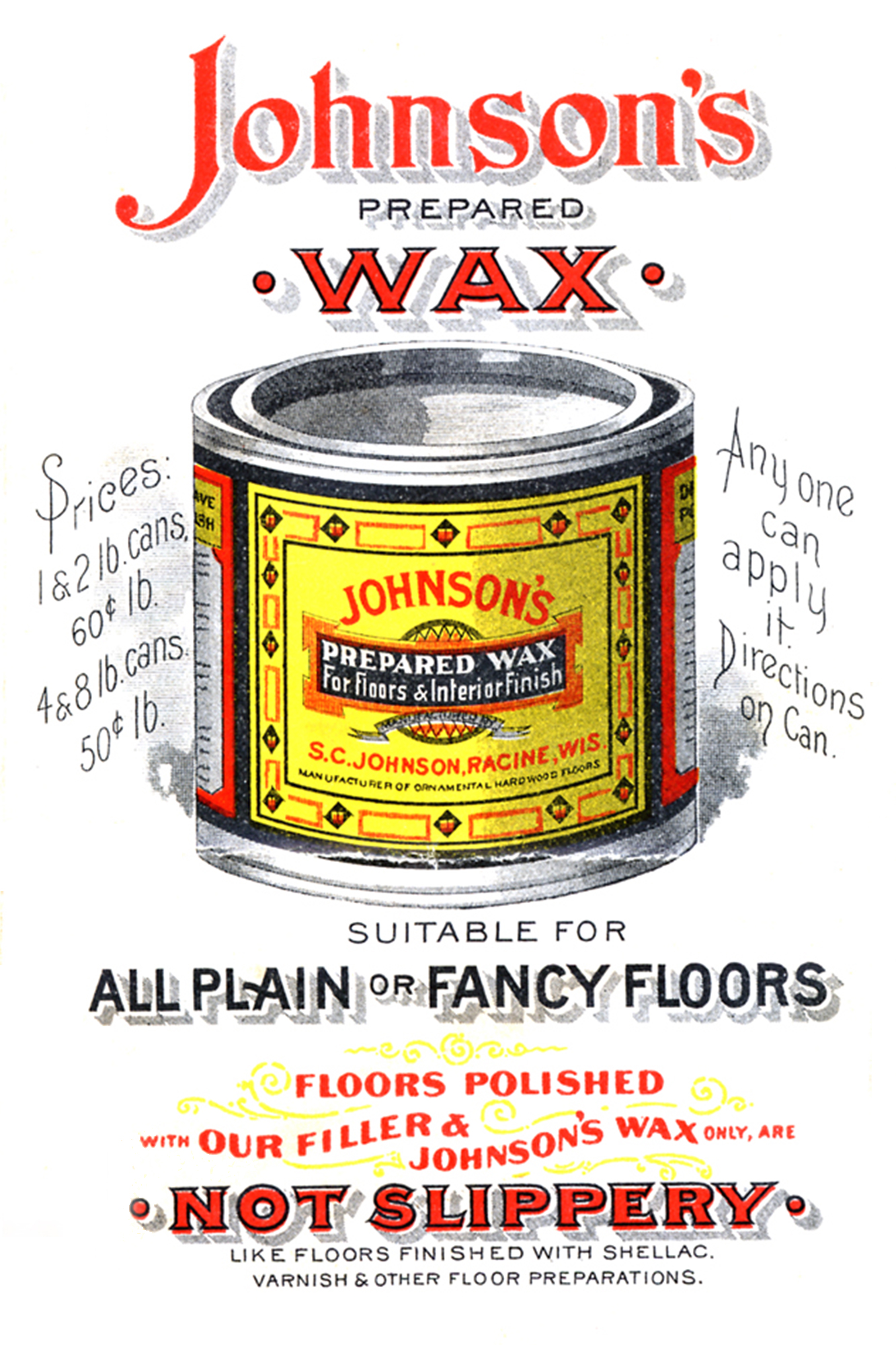 Johnson's Prepared Wax vintage ad from 1898