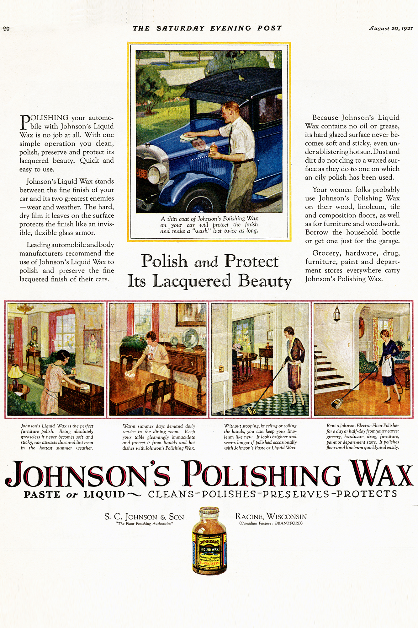 Reklama Johnson's Wax w Saturday Evening Post z 1927 roku