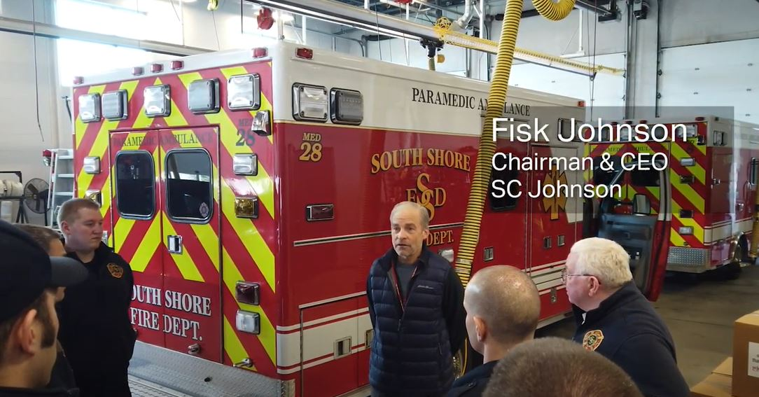 Fisk Johnson, SC Johnson Chairman and CEO visits local first responders to personally thank them for their service during the COVID-19 pandemic.